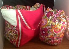 Vera Bradley Clementine Colorblock Tote & Ditty Bag Retired