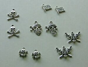 "Halloween Pirates Skulls Mini Ornaments Earrings Pendent Charm Metal 1/2""-1 1/4"""