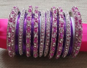 Assortment of Asian/Indian/Bollywood Bangles - Pink/Purple/Silver