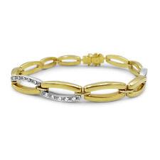 9ct Two Colour Gold Fancy CZ Ladies Bracelet 7mm 7.25 inch 12.37g RRP £440