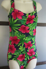 Vintage Gabar Swimsuit One Piece Bathing Suit Pink Green Hawaiian Floral USA