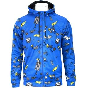 Adidas Bounce AOP Hoodie Herren Kapuzen Jacke Sweatjacke Mesh Jacket Comic blau