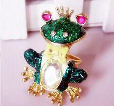 R194 BETSEY JOHNSON Blue Tree Prince Frog Gemstone w/ Crown Ring US