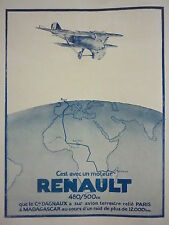 1927 PUB RENAULT MOTEUR AVIATION DAGNAUX PARIS MADAGASCAR MAJUNGA AFRIQUE AD