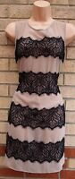 MARKS SPENCER TAUPE BLACK LACE STRIPE SMOCK TUBE SHIFT TUNIC CAMI DRESS 10 S