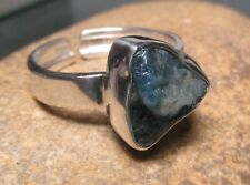 Sterling silver rough apatite stone ring UK R½/US 9. Gift Bag.