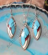 Set Anhänger Kette Ohrring blau weiß Indianerschmuck Indianer Silber 925