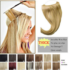 """New Straight Invisible Wire Wire Halo Hair Extensions 100% Remy Human Hair 16"""""""