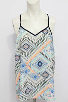 Skies Are Blue Women's Green Geometric Blue Anthropologie Tank Cami Top Size L