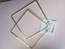 EXTRA LARGE BAMBOO EARRINGS HIP HOP GOLD TRIANGLE HOOPS THIN SLEEK CHIC CREOLE