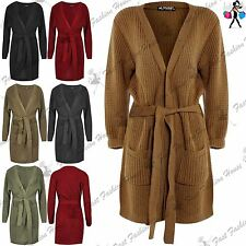 Womens Long Sleeve Oversized Belted Ladies Chunky Knitted Duster Coat Cardigan
