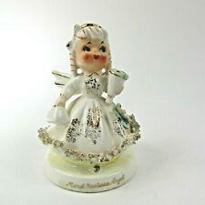 New ListingVtg. Tmj March Narcissus Birthday Angel Girl figurine spaghetti trim Rare