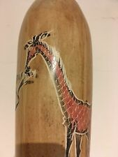 African Stone Vase with Giraffe Eating from a Tree