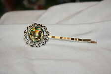 of Brown, Gold and Green #D7 Fused Dichroic Glass Silver Toned Bobby Pin-Shades