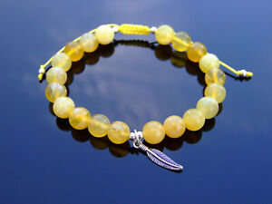 Yellow Opal Sterling Silver Feather Natural Gemstone Bracelet 6-9'' Macrame