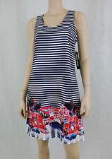 NWT MUSETTE Striped Dress Greece Print Sleeveless Round Neck Navy Blue Multi 6