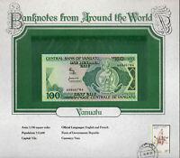 World Banknotes Vanuatu 100 Vatu 1982 P1a UNC Prefix AA