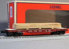 LIONEL MILWAUKEE ROAD 40' FLATCAR LUMBER LOAD o gauge train freight 6-82850 NEW