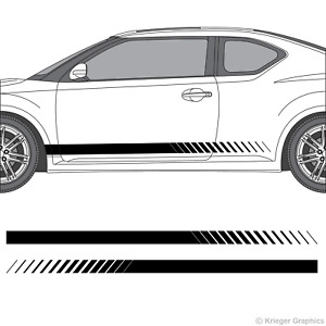 Faded Rocker Panel Racing Stripes 3M Vinyl Decal Kit for Scion tC or FR-S