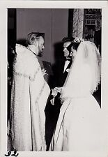 Old Vintage Antique Photograph Wedding Bride & Groom At Altar With Priest