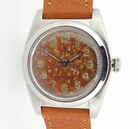 .RARE 1945 ROLEX OYSTER RADIUM BURN DIAL STEEL BUBBLE BACK WRIST WATCH 2940