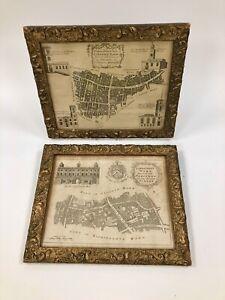Superb Pair Of Antique 1772 Gilt Framed Prints- City Of London Wards