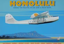 "Aviation, ""Honolulu"" digital print, 16""h x 24""w image"