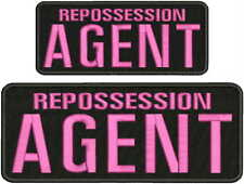 REPOSSESSION AGENT EMB PATCH 4X10 & 3X7 HOOK ON BACK BLK/pink