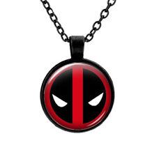 Marvel Deadpool Mask Glass Superhero Movie Necklace Pendent Jewellery Gift Bag