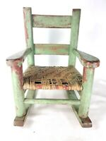 Distressed Green Wooden Wicker Child's Rocker Rocking Chair