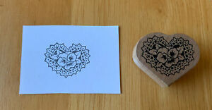 """PSX Pansy Lace Heart Shaped Wooden Rubber Stamp Doily Flower Love H-1494 1.75"""""""