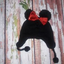 DISNEY PARK MINNIE BLACK BEANIE HAT RED SEQUENCE BOW CHIN TIE