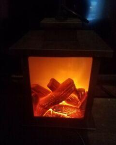 LED Cozy Fireplace Lantern new no box