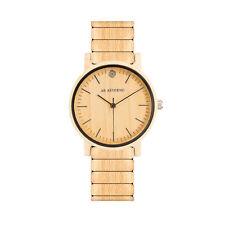 """AB AETERNO """"Wave"""" Madera Arce Natural Swiss Quartz Correa Patentado Hombre Reloj"""