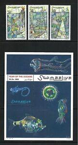 Somalia 1998 Mi#713-15,#716 Block 53  Year of the Ocean  MNH Stamp/SS Set $20.10