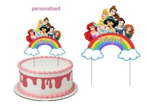 DISNEY PRINCESS  CAKE TOPPER PERSONALISED GLOSSY CARDSTOCK DECORATION