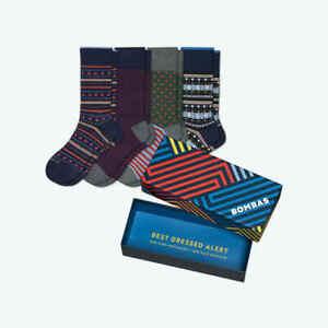 BOMBAS Men's Dress Socks - Medium, Calf Socks Cotton Blend 4-Pack