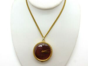 Lucerne Watch Pendant Necklace Mechanical Wind Up Gold Plated Burgundy Chain 70s