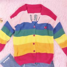 Japan Sweet Vintage Girl Kawaii Cardigan KNIT Rainbow Sweaters Coat NEW V collar