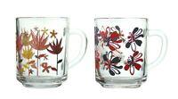 Clear Glass Tea Coffee Mugs Cups FlowerPrinted Design 245ml Coffee Tea Glass Mug
