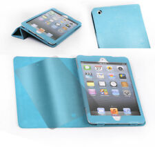 NEW CASE COVER+SCREEN PROTECTOR STAND POLYURETHANE LEATHER AQUA BLUE IPAD MINI