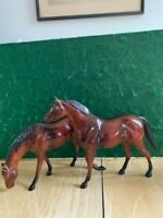 Hartland Plastics 1960's Thoroughbred Set Grazing Mare and Trotting Stallion
