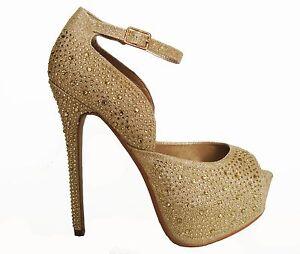 Gold Rhinestone Peep Toe Hidden Platform Bridal Wedding Heels Pumps Shoes