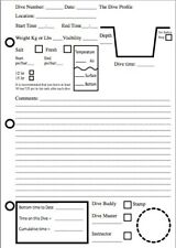 Dive log book pages (PACK OF 3)