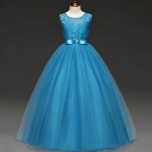 Girl Children Kids Lace Flower Long Wedding Dress Bridesmaid Ball Gown Pageant