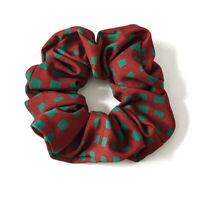 Women Cloth Fabric Elastic Scrunchy Hair Tie Rhombic Square Print Hair Rope Ring