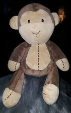 "Carters monkey rattle plush brown tan stitched 10"" EUC"
