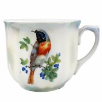 Antique Lusterware Coffee Tea Cup Bird On Flowering Branch Lustreware Germany