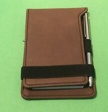 """3 1/4"""" x 4 3/4"""" Dark Brown Leatherette Notepad with Pen FREE SHIPPING GLOVE BOX"""