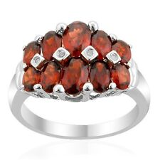 Natural Red Garnet and Diamond 925 Sterling Silver Dom Ring Platinum over